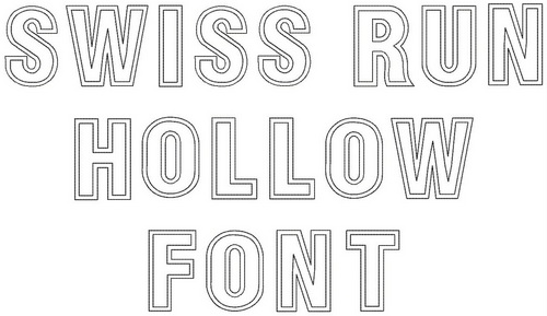 swiss run hollow font